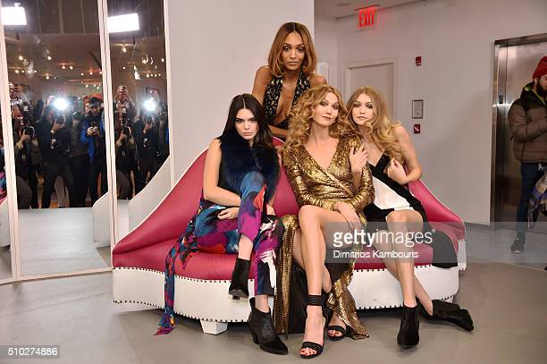 Kendall Jenner Jourdan Dunn Karlie Kloss and Gigi Hadid pose wearing Diane Von Furstenberg Fall 2016 during New York Fashion Week on February 14 2016...