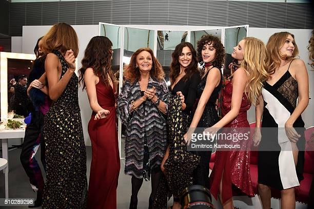 Kendall Jenner Jourdan Dunn Lily Aldridge Diane Von Furstenberg Irina Shayk Alanna Arrington Elsa Hosk and Gigi Hadid pose wearing Diane Von...