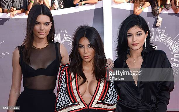 Kendall Jenner Kim Kardashian and Kylie Jenner arrive to the 2014 MTV Video Music Awards at The Forum on August 24 2014 in Inglewood California