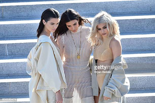 Kendall Jenner, Kim Kardashian and Kylie Jenner attend the Kanye West Yeezy Season 4 fashion show on September 7, 2016 in New York City.