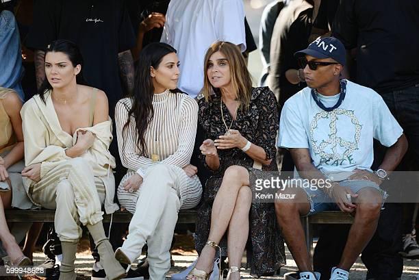 Kendall Jenner Kim Kardashian Carine Roitfeld and Pharrell Williams attend the Kanye West Yeezy Season 4 fashion show on September 7 2016 in New York...