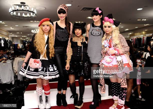 Kendall Jenner Kylie Jenner and Lolita Girls attend Forever 21 For Hello Kitty Collection Launch Party at Forever 21 on November 17 2011 in Los...