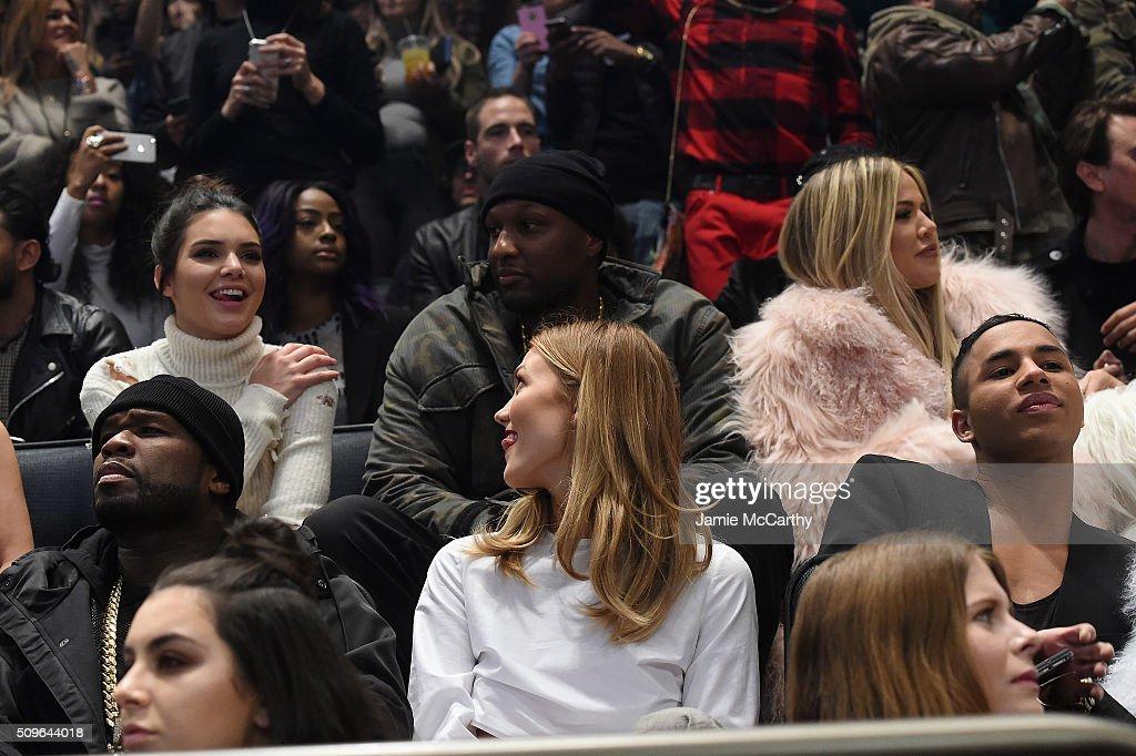 Kendall Jenner, Lamar Odom, Khloe Kardashian, 50 Cent, Karlie Kloss and Olivier Rousteing attend Kanye West Yeezy Season 3 on February 11, 2016 in New York City.