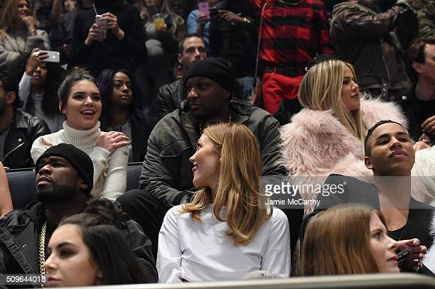 Kendall Jenner Lamar Odom Khloe Kardashian 50 Cent Karlie Kloss and Olivier Rousteing attend Kanye West Yeezy Season 3 on February 11 2016 in New...