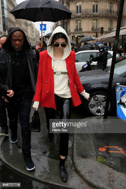 Kendall Jenner leaves 'L'Avenue' restaurant on Avenue Montaigne on March 1 2017 in Paris France