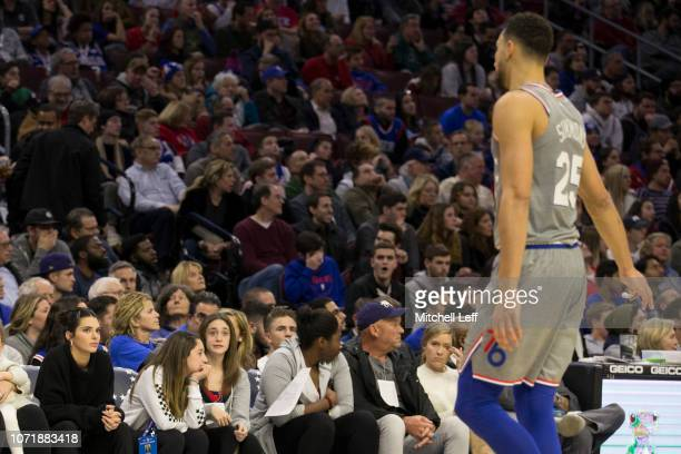 Kendall Jenner looks at Ben Simmons of the Philadelphia 76ers during the game against the Cleveland Cavaliers at the Wells Fargo Center on November...
