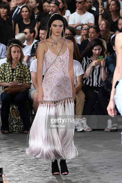 Kendall Jenner on the catwalk at the Givenchy Menswear Spring/Summer 2016 show as part of Paris Fashion Week on June 26 2015 in Paris France