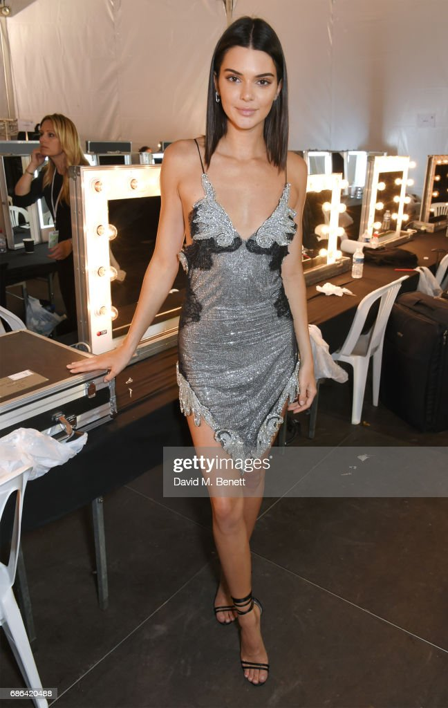 Kendall Jenner poses backstage at the Fashion for Relief event during the 70th annual Cannes Film Festival at Aeroport Cannes Mandelieu on May 21, 2017 in Cannes, France.