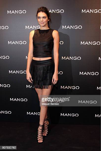 Kendall Jenner poses during a photocall for 'Tribal Spirit' by Mango at the Ramblas Mango Store on January 28 2016 in Barcelona Spain