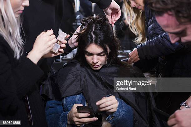 Kendall Jenner prepares backstage prior the Alexandre Vautier Spring Summer 2017 show as part of Paris Fashion Week on January 24 2017 in Paris France