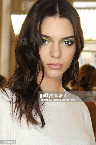 Kendall Jenner prepares backstage prior to Versace show as part of Paris Fashion Week HauteCouture Fall/Winter 2015/2016 on July 5 2015 in Paris...