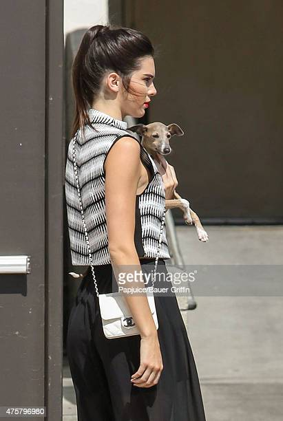 Kendall Jenner promotes TopShop at the Grove with her dog Gabbana on June 03 2015 in Los Angeles California