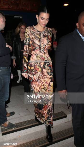 Kendall Jenner seen attending LOVE Magazine - party at The Standard during LFW February 2020 on February 17, 2020 in London, England.