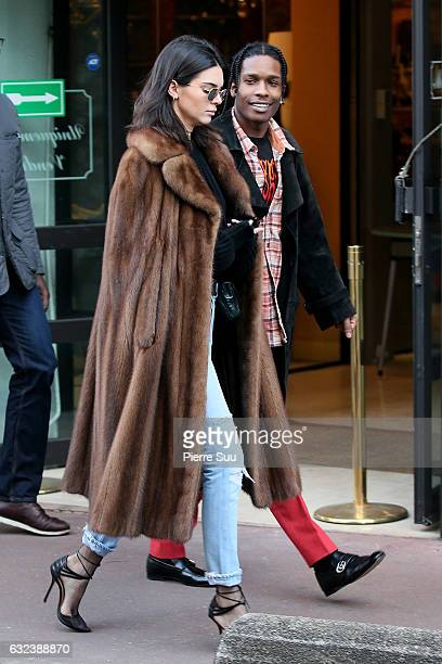 Kendall Jenner sighting at a flea market with Asap Rocky on January 22 2017 in Paris France