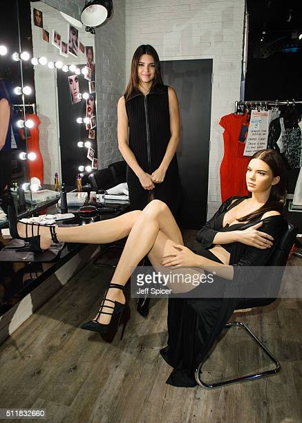 Kendall Jenner visits her new wax figure at Madame Tussauds on February 23 2016 in London England