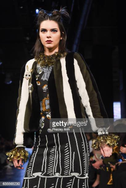 Kendall Jenner walks the runway at the Anna Sui Fall/Winter 2017 Show at Skylight Clarkson Sq on February 15 2017 in New York City