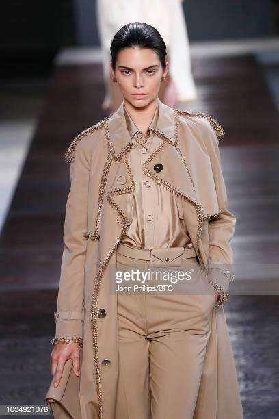 Kendall Jenner walks the runway at the Burberry show during London Fashion Week September 2018 at The South London Mail Centre on September 17, 2018...