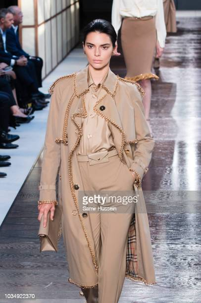Kendall Jenner walks the runway at the Burberry show during London Fashion Week September 2018 on September 17, 2018 in London, England.