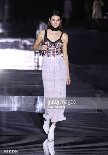 Kendall Jenner walks the runway at the Burberry show during London Fashion Week February 2020 on February 17 2020 in London England