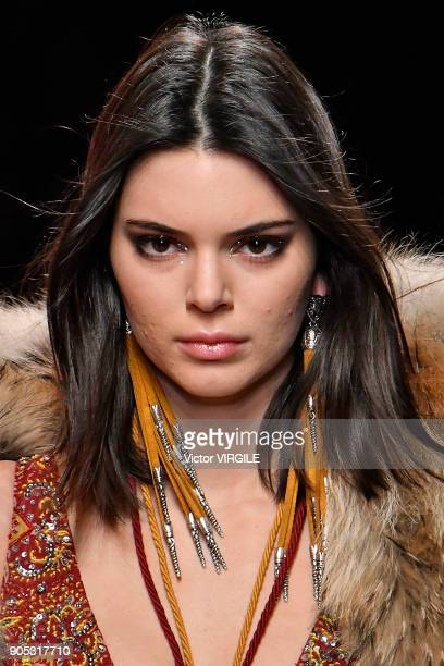Kendall Jenner walks the runway at the Dsquared2 show during Milan Men's Fashion Week Fall/Winter 2018/19 on January 14 2018 in Milan Italy