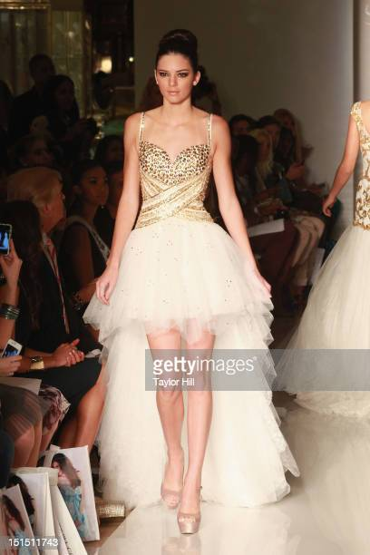Kendall Jenner walks the runway at the Evening Sherri Hill spring 2013 fashion show during MercedesBenz Fashion Week at Trump Tower Grand Corridor on...