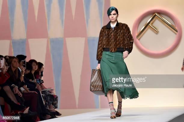 Kendall Jenner walks the runway at the Fendi show during Milan Fashion Week Spring/Summer 2018 on September 21 2017 in Milan Italy