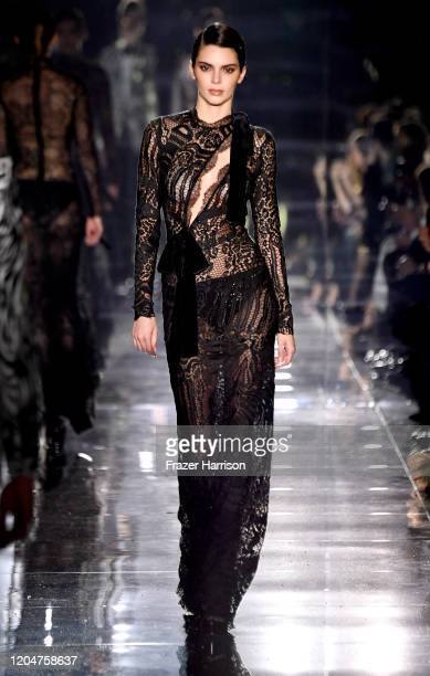 Kendall Jenner walks the runway at the Tom Ford AW20 Show at Milk Studios on February 07 2020 in Hollywood California