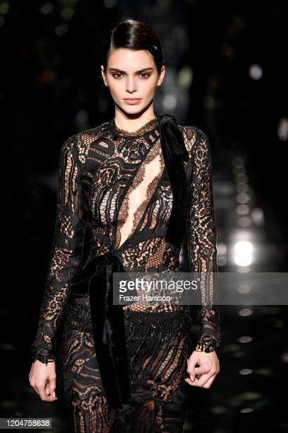 Kendall Jenner walks the runway at the Tom Ford AW20 Show at Milk Studios on February 07, 2020 in Hollywood, California.