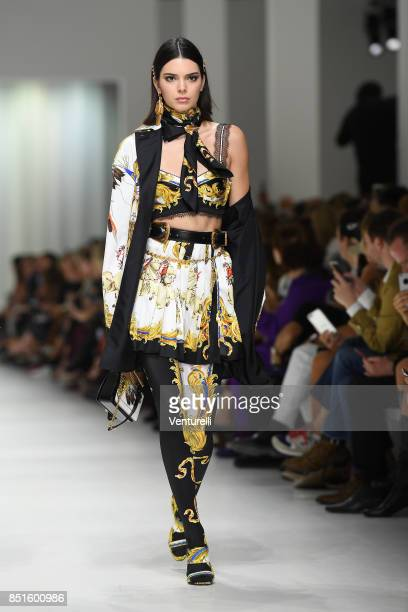 Kendall Jenner walks the runway at the Versace show during Milan Fashion Week Spring/Summer 2018 on September 22 2017 in Milan Italy