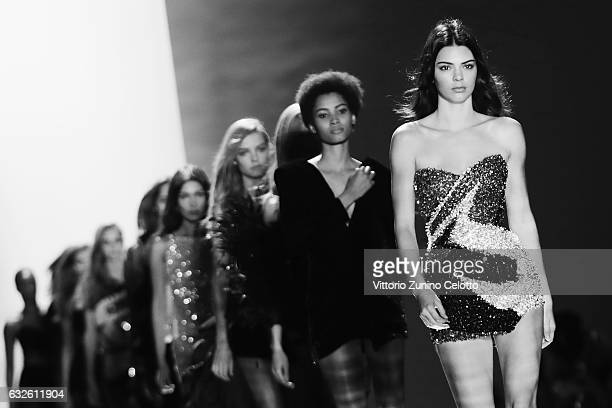 Kendall Jenner walks the runway during the Alexandre Vauthier Spring Summer 2017 show as part of Paris Fashion Week on January 24 2017 in Paris France