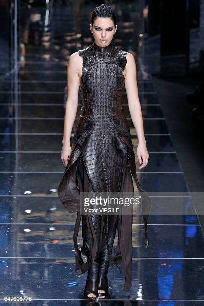 Kendall Jenner walks the runway during the Balmain Ready to Wear fashion show as part of the Paris Fashion Week Womenswear Fall/Winter 2017/2018 on...