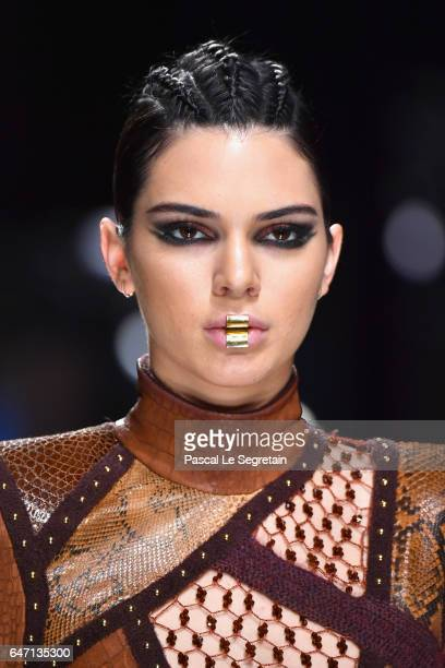 Kendall Jenner walks the runway during the Balmain show as part of the Paris Fashion Week Womenswear Fall/Winter 2017/2018 on March 2 2017 in Paris...