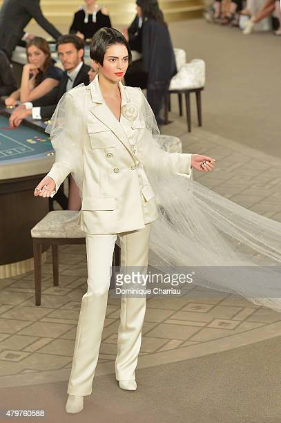 Kendall Jenner walks the runway during the Chanel show as part of Paris Fashion Week Haute Couture Fall/Winter 2015/2016 on July 7, 2015 in Paris,...