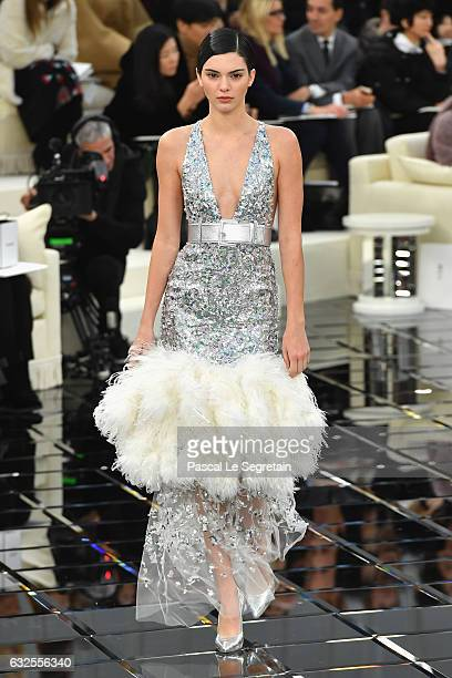 Kendall Jenner walks the runway during the Chanel Spring Summer 2017 show as part of Paris Fashion Week on January 24 2017 in Paris France