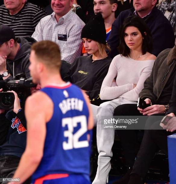 Kendall Jenner watches Blake Griffin during the Los Angeles Clippers Vs New York Knicks game at Madison Square Garden on November 20 2017 in New York...