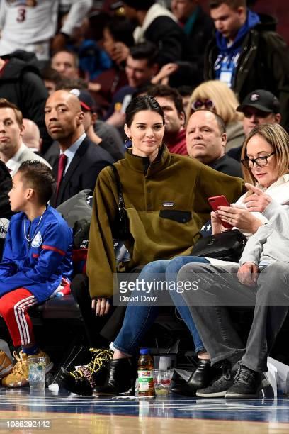 Kendall Jenner watches the Philadelphia 76ers take on the Houston Rockets on January 21 2019 at the Wells Fargo Center in Philadelphia Pennsylvania...