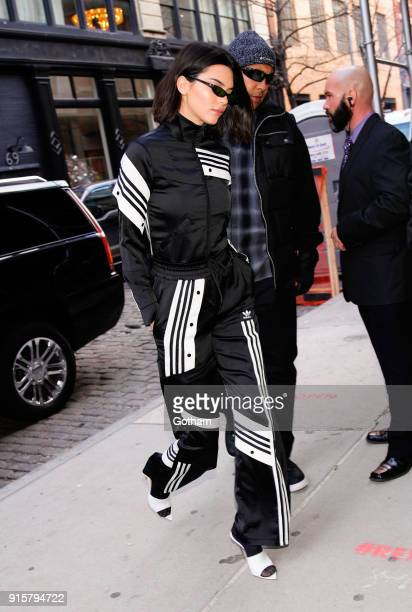Kendall Jenner wears all Adidas on February 8, 2018 in New York City.