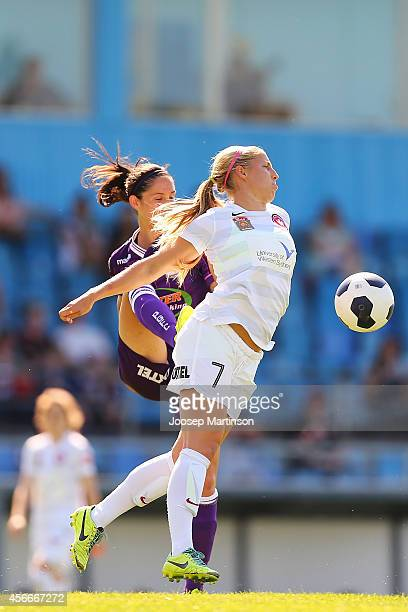 Kendall Johnson of the Wanderers competes for the ball during the round four WLeague match between Western Sydney and Perth Glory at Marconi Stadium...