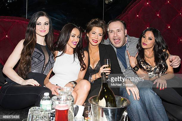 Kendall Karson, Breanne Benson, a guest, Big John and Kaylani Lei attend Big John's Birthday Celebration at Headquarters on February 13, 2014 in New...