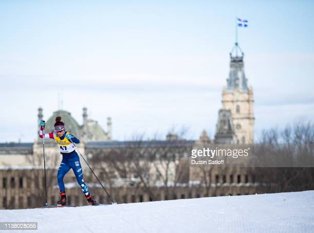 Kendall Kramer of the United States competes in the Women's 10km freestyle pursuit during the FIS Cross Country Ski World Cup Final on March 24, 2019...