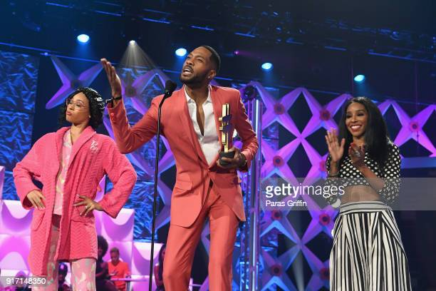 Kendall Kyndall speaks on stage BET's Social Awards 2018 at Tyler Perry Studio on February 11 2018 in Atlanta Georgia