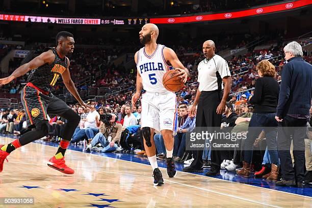 Kendall Marshall of the Philadelphia 76ers dribbles up court gainst the Atlanta Hawks at Wells Fargo Center on January 7 2015 in Philadelphia...