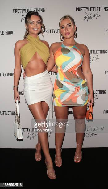 Kendall Rae-Knight and Ellie Brown seen attending PrettyLittleThing by Molly Mae - launch party at Novikov on August 26, 2021 in London, England.