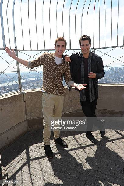 Kendall Schmidt and James Maslow from 'Big Time Rush' visit The Empire State Building on April 17 2013 in New York City