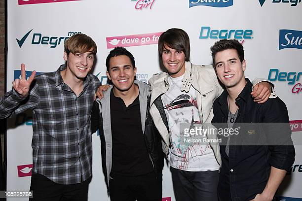 Kendall Schmidt Carlos Pena James Maslow and Logan Henderson of Nickelodeon's Big Time Rush attend the Big Time Rush Rocks Out with Confidence event...