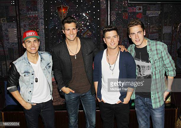Kendall Schmidt James Maslow Carlos Pena Jr and Logan Henderson of Big Time Rush attend their press conference and tour announcement held at House of...