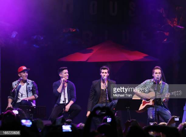 Kendall Schmidt James Maslow Carlos Pena Jr and Logan Henderson of Big Time Rush perform at their press conference and tour announcement held at...