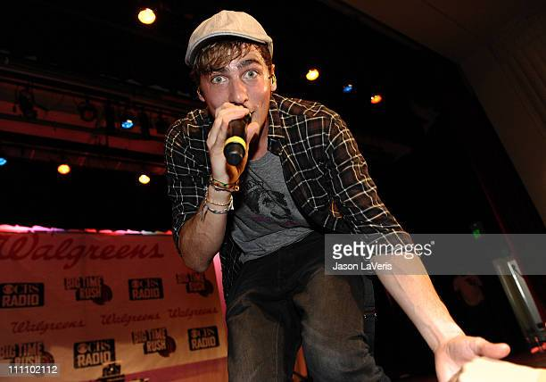 Kendall Schmidt of Big Time Rush performs at Torrance High School on March 29 2011 in Torrance California