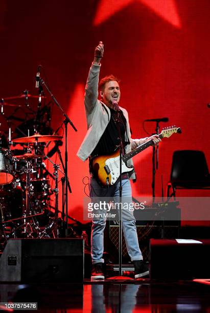Kendall Schmidt of Heffron Drive perform onstage during the 2018 iHeartRadio Music Festival at TMobile Arena on September 21 2018 in Las Vegas Nevada
