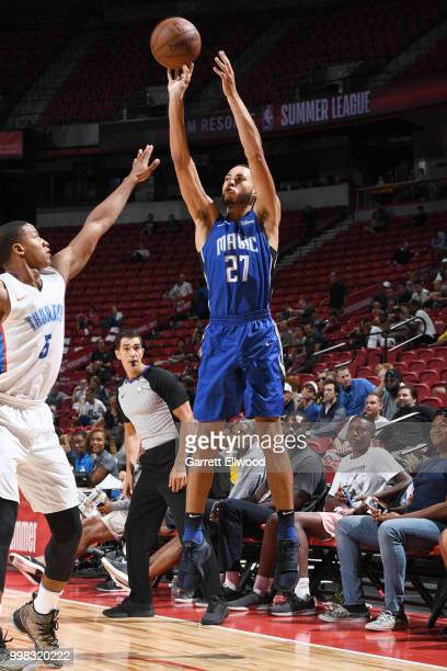 Kendall Stephens of the Orlando Magic shoots the ball during the game against the Oklahoma City Thunder during the 2018 Las Vegas Summer League on...